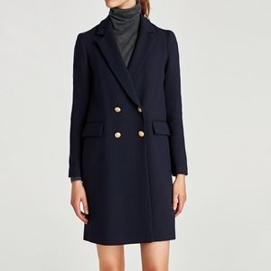 NWT Zara Navy Blue Double Breasted Wool Blend Coat